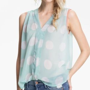 Collective Concepts Polka Dot Chiffon Top, Size M